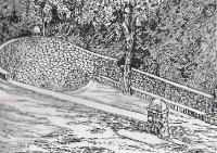 Dibuix de Joan Amat (1928) del Butlletí del Centre Excursionista de Molins de Rei. (Número especial Marxeta).