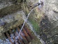 04.12.2005.- Imatge de la bassa i el tub d'una de les fonts.