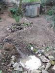 7.10.2017. Imatge general de la font amb la bassa per amfibis en primer terme.