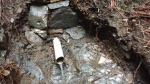 10.09.2019. Imatge de la llera on apareix el tub que conduïa l'aigua a la font..