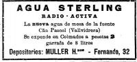 Anunci de Agua Sterling (La Vanguardia del 3 de març de 1923)