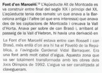 """Fragment del llibre de C. Giménez, """"Riera, torrents i fonts als barris d'Horta-Guinardó"""". Ajuntament de Barcelona. 2009."""